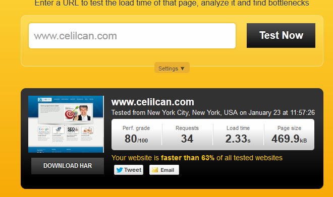 pingdom site hızı analiz araçları