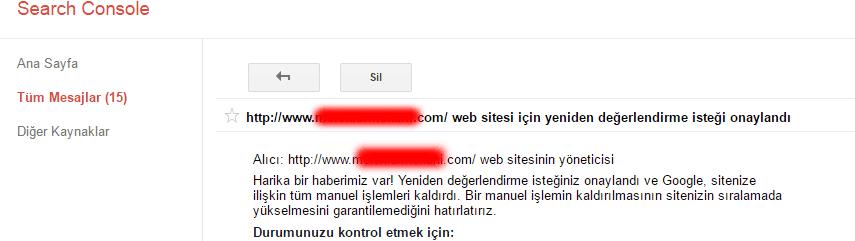 google yeniden degerlendirme onay
