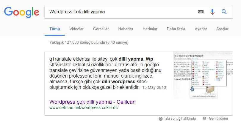 google zengin sonuclar