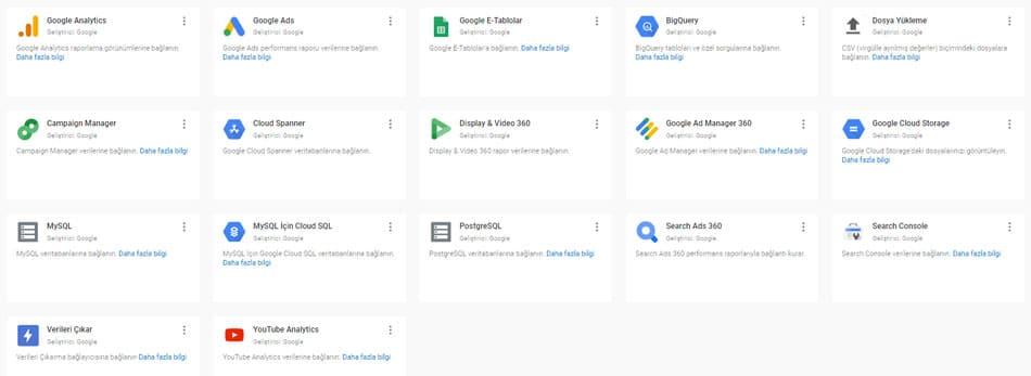 googledatastudio veri kaynaklari